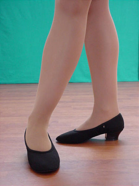 Black canvas character cuban heel