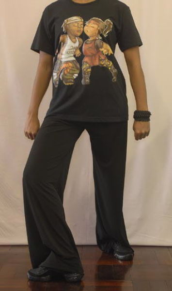 Hip hop outfit with street dancer T-shirt