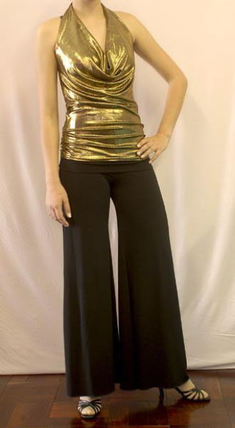 Latin outfit with gold draped top