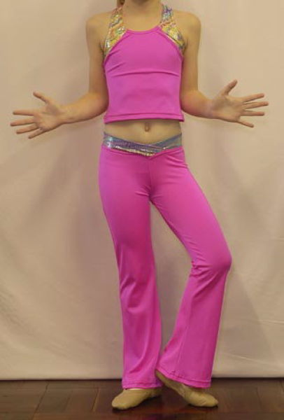 Modern jazz pants and crop top - pink