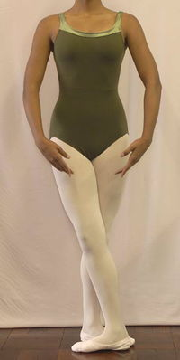 Leotard olive with velvet trim